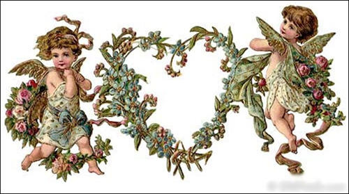 Cupids with Flowers Heart