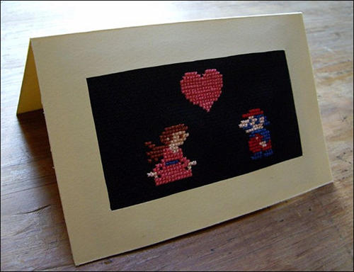 Cross-stitch valentines card