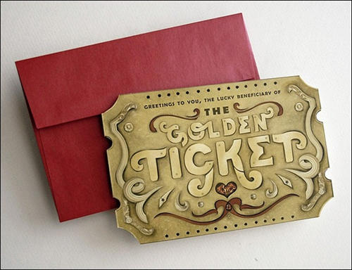 Golden Ticket Valentine Scratch Off Card