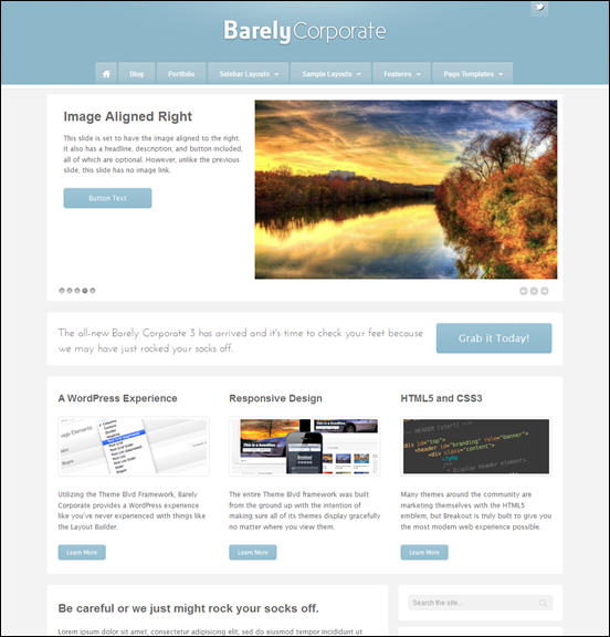 Barely Corporate Responsive WordPress Theme