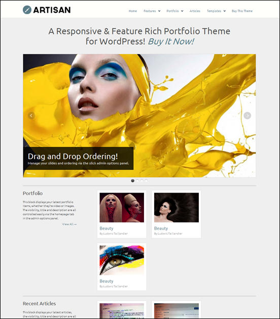 WP Artisan Responsive Portfolio Theme