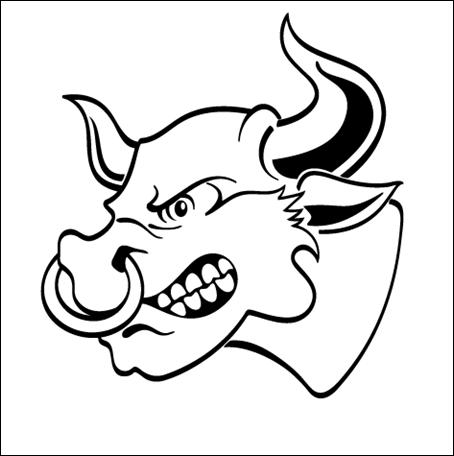 Angry Bull with Nose Ring Vector 