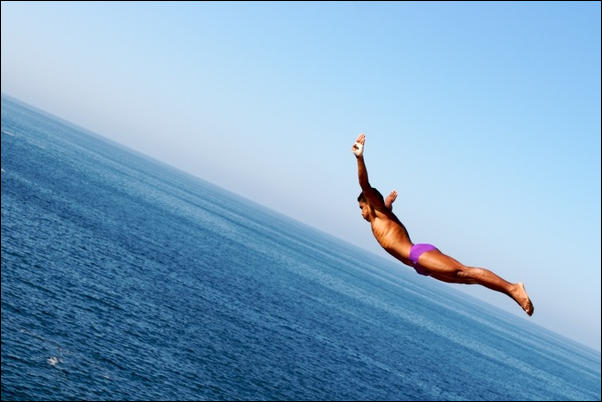 Cliff Jumping by Cesar Rodriguez