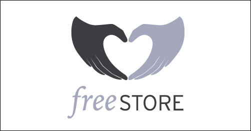 The Free Store by levelb heart shaped logos