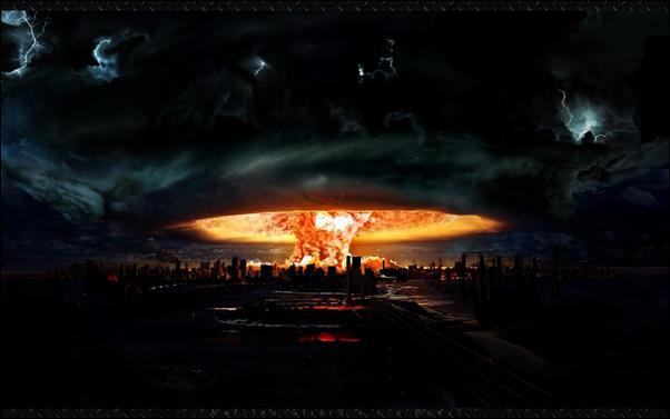 Nuclear explosion doomsday photo manipulation