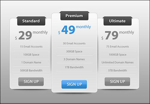 Free Slick Modern Pricing Table PSD