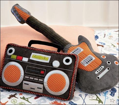 Guitar-and-boom-box-pillows