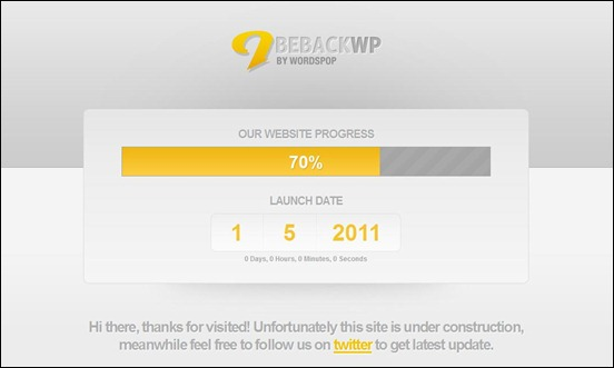 BeBack-WP under construction wordpress themes