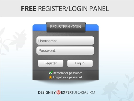 free-psd-register-login-form
