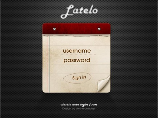 latelo-classic-note-login-form