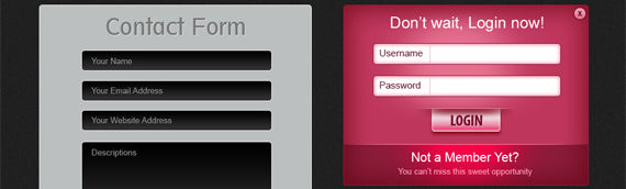login and contact form psds