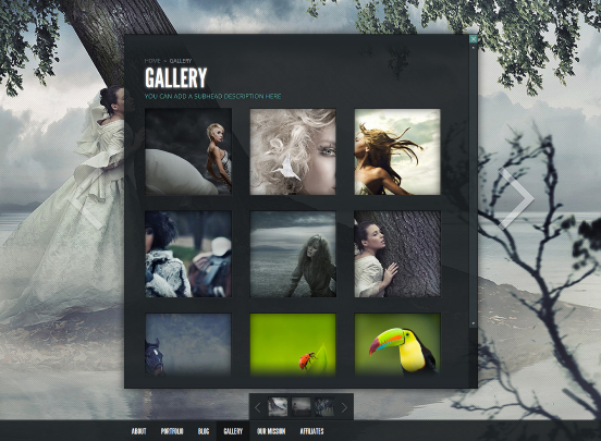 Fullscreen template for WordPress, Gleam