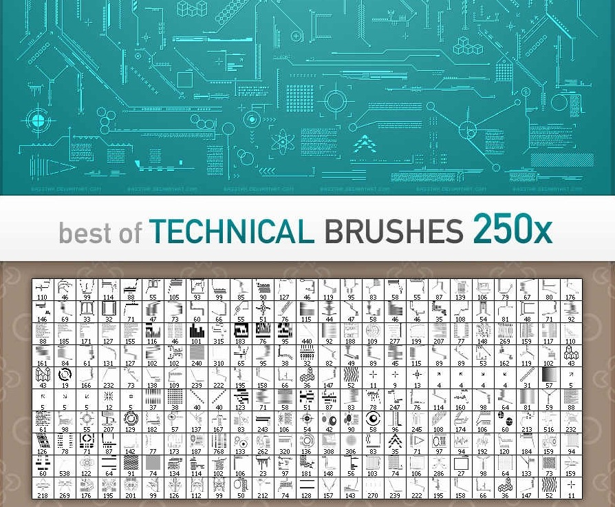 40 beautiful photoshop tech brush sets creative cancreative can technical brushes best of 250x by basstar malvernweather Choice Image