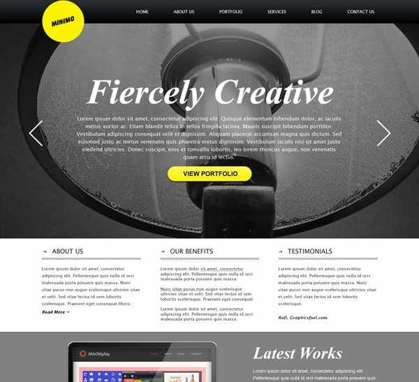 40 beautiful and free business psd website templates creative minimal website with full screen background template psd wajeb Choice Image