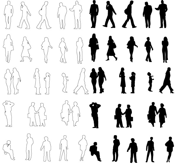 People Silhouettes Vector People Silhouette Architecture Png