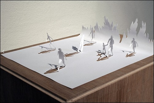 Running-Fire-II-paper-sculptures