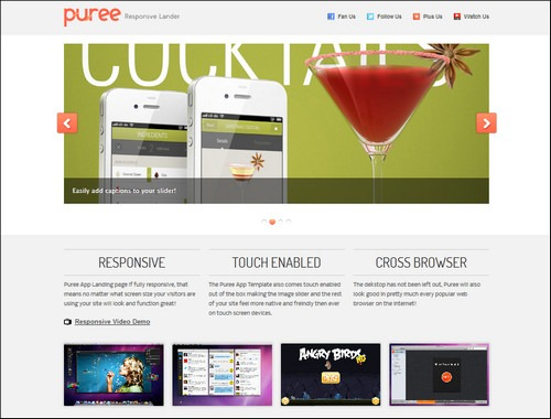 puree landing page templates