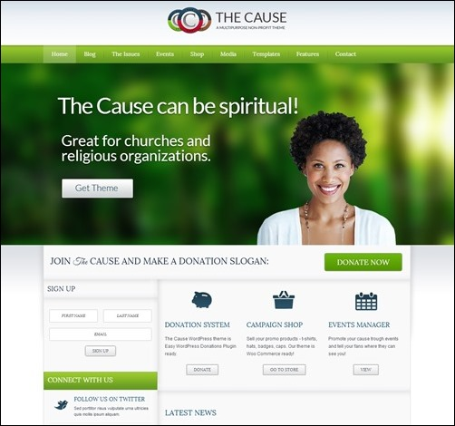the cause non profit wordpress theme more info the cause church websites templates
