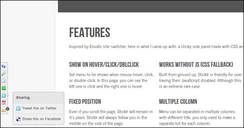 sticklr jQuery menu plugins