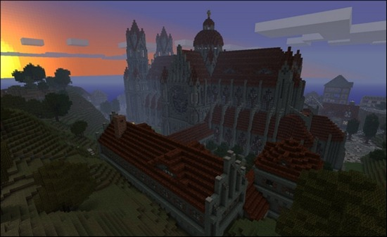 cathedral-at-sunset-minecraft