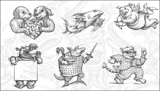 animal-caricatures-brushes