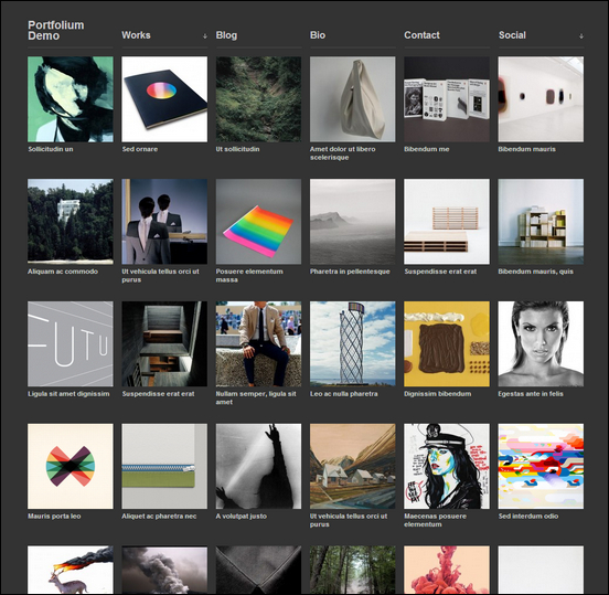portfolium is a dark minimalistic portfolio style photography WordPress theme