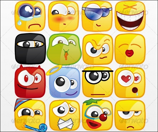 36-square-emoticons-pack