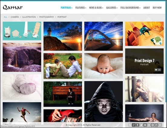 Qamar Portfolio is a great WordPress theme for photographers who want to show off their work online in a nice grid layout.