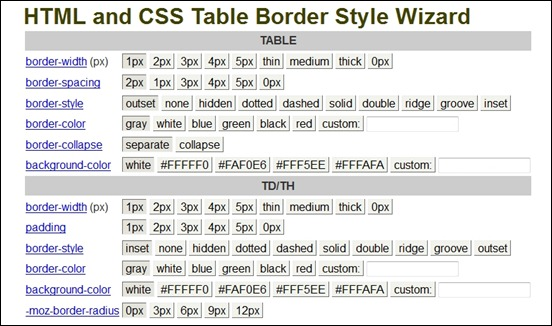 Table td border color css designer tables reference for Html table border color
