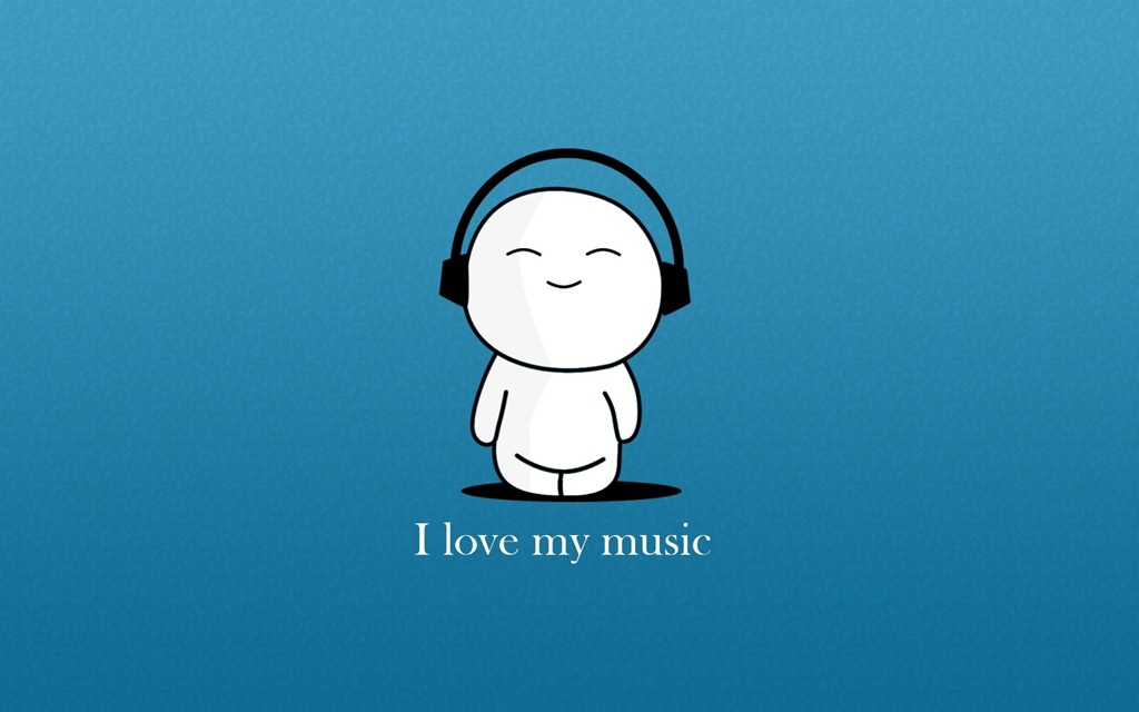i love my music with blue background cartoon hd wallpapers